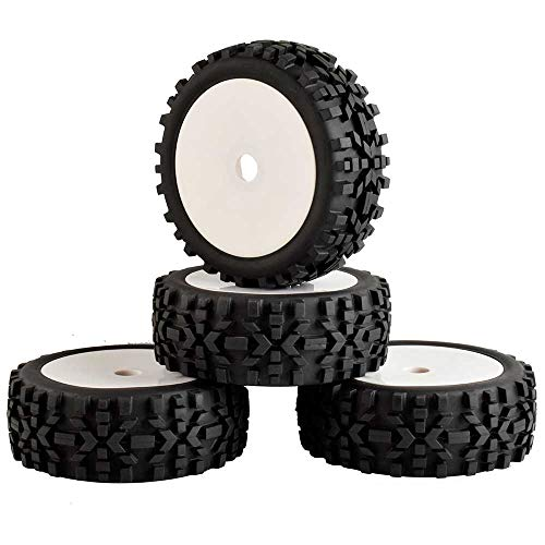 LAFEINA 4PCS Tires and Wheels Set for 1/8 Scale RC Buggy Off-Road Model Car KYOSHO HPI LOSI - Model Rc Tires Buggy