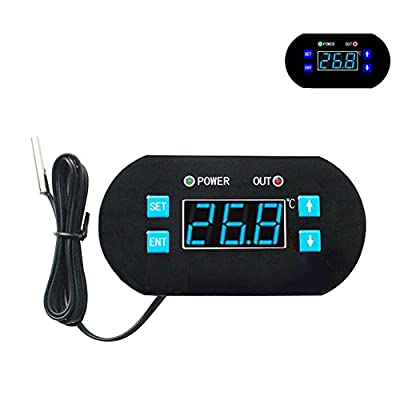 DC 12V Digital LCD Temperature Controller Heating Cooling Thermostat with Probe for Warehouse, Water Heaters, Ovens, Refrigerators Micro-Computer Control