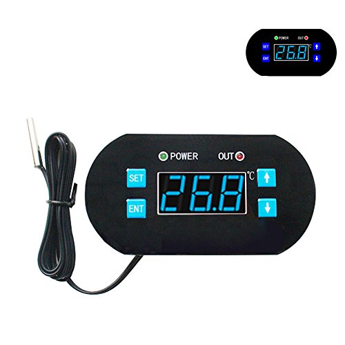 DC 12V Digital LCD Temperature Controller Heating Cooling Thermostat with Probe for Warehouse, Water Heaters, Ovens, Refrigerators Micro-Computer Control, Blue