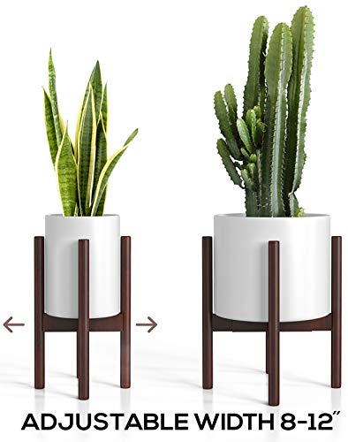 "Mid Century Plant Stand - Adjustable Modern Indoor Plant Holder - Brown Planter Fits Medium & Large Pots Sizes 8 9 10 11 12 inches (Not Included) (Adjustable Width: 8-12"" x 16"" Tall, Dark Brown)"