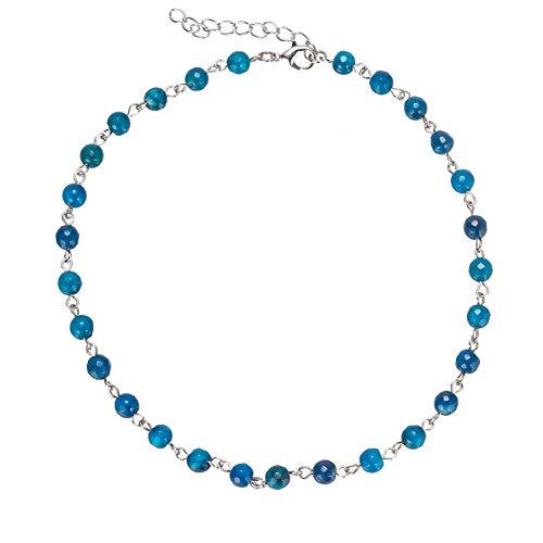(Femtindo Dainty Semi Precious Stone Choker Necklace Agate Opal Beaded Chain Collar for Women Girls (Blue))