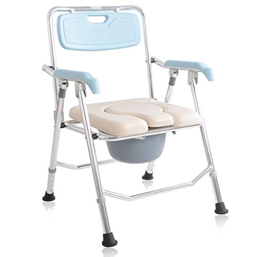 ZXXX Toilet Chair for Elderly and Disabled,Folding Commode Chair Portable Toilet Seat,Commode Chair for Toilet with Arms,Portable Commode Bucket Replacement ()