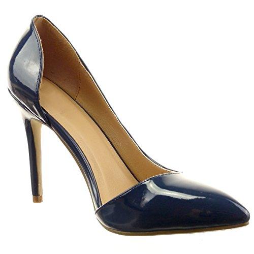 Sopily - Zapatillas de Moda Tacón escarpín decollete stiletto Tobillo mujer brillantes patentes Talón Tacón de aguja alto 10.5 CM - Azul