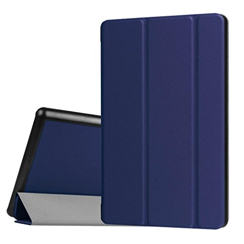Price comparison product image Tiean Flip Leather Case Cover Holder For 2016 Amazon Kindle Fire HD 8 Inch Tablet (Dark Blue)