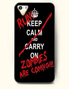 iPhone 4 / 4s Case Run Keep Calm And Carry On Zombies Are Coming - Red Mark - Hard Back Plastic Case - OOFIT Authentic