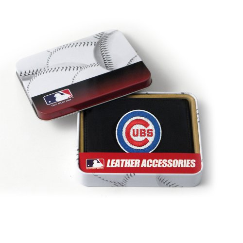 Rico Industries MLB Chicago Cubs Embroidered Genuine Cowhide Leather Trifold Wallet - Chicago Cubs Black Leather