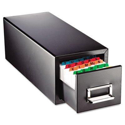 SteelMaster 263F4616SBLA Drawer Card Cabinet Holds 1,500 4 x 6 cards, 8 7/8 x 18 1/8 x 8 by STEELMASTER