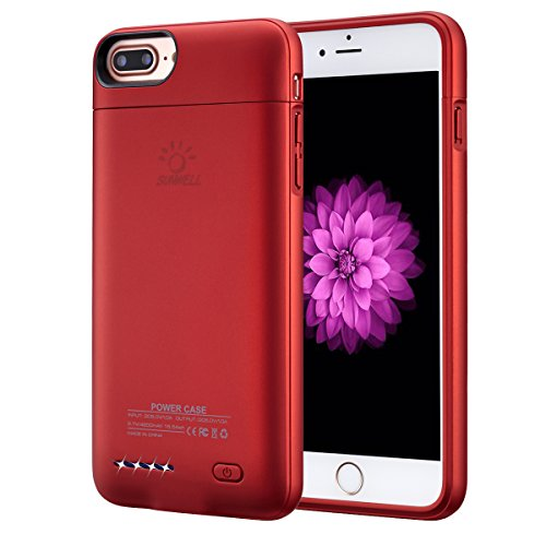 "iPhone 8 plus / 7 plus / 6 plus / 6S plus Battery Case, Ultra Thin Rechargeable iPhone 7plus / 6 plus / 6S plus Case Battery with 4200mAh Capacity from SUNWELL (5.5"" Red) by SUNWELL"