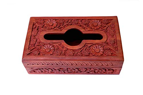 Brown Rosewood Napkin Holder - Artistzila Handmade Wooden Tissue Box Napkin Holder Cover with Carving Work for Car Home Bathroom & Office 10 x 6 Inches