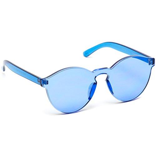 337e4d7a989 WearMe Pro - Colorful Transparent Round Super Retro Sunglasses (Blue
