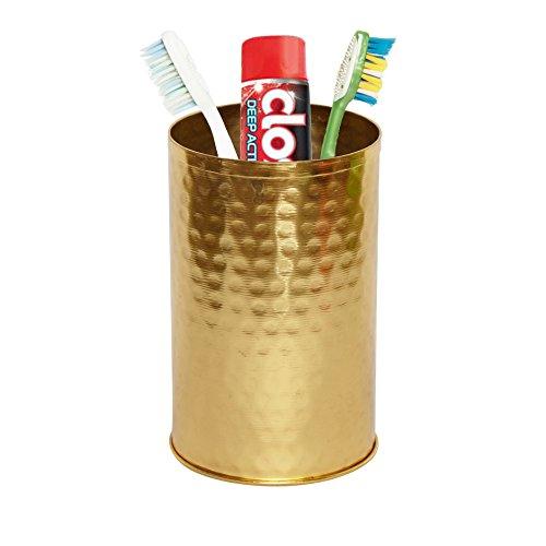 GoCraft Toothbrush Holder Cup - Bathroom Organizer for Vanity Countertops, Brass Finish Galavanised ()