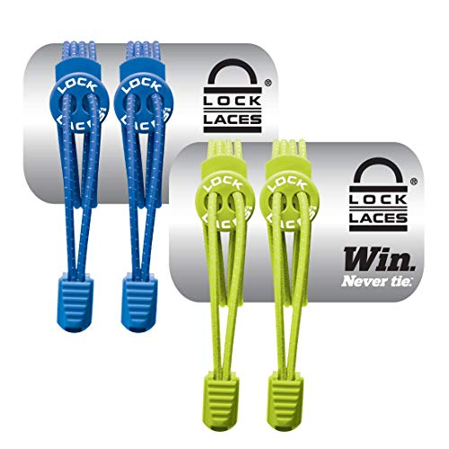 (LOCK LACES (Elastic No Tie Shoe Laces (Pack of 2) (Blue-Green))
