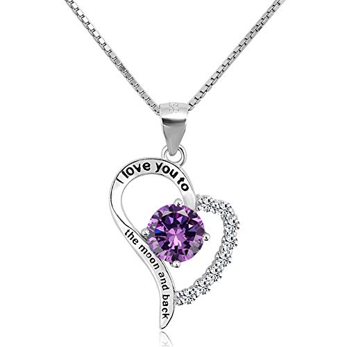 I Love You to The Moon & Back Pendant Necklace 925 Sterling Silver cz Engraved Heart February Birthstone Charms ()