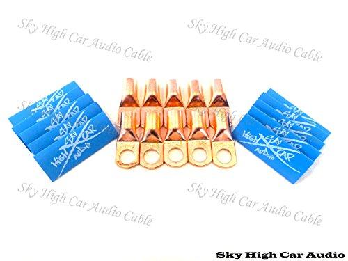 4 Gauge Car Audio Ring - (10) 4 Gauge Copper Ring Terminals 3/8