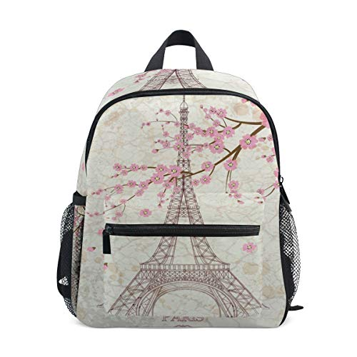 - Eiffel Tower And Cherry Blossoms School Backpack For Girls Kids Elementary School Bag Mini Backpacks