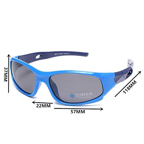 Sports Style Polarized Sunglasses Rubber Flexible Frame UV400 For Boys Girls (Blue&Dark Blue, black)