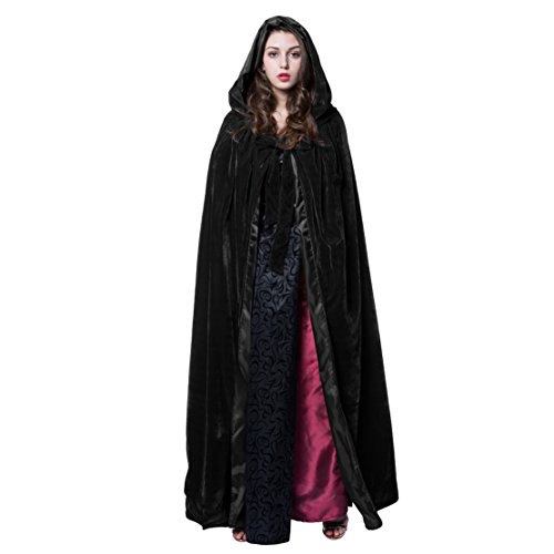 ANGELWARDROBE Halloween Black Hooded Cloak Wedding Cape S