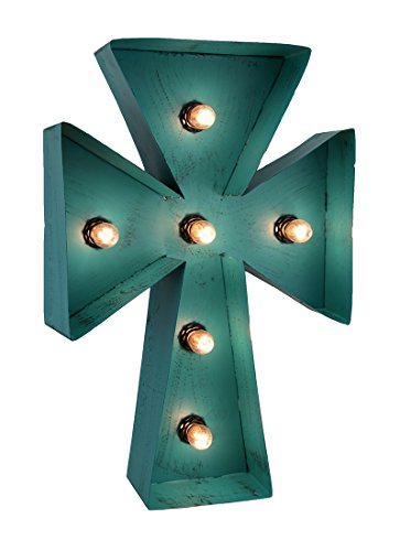 Zeckos Metal Wall Crosses Distressed Turquoise Blue Finish Lighted Led Cross Wall Hanging 11 X 16.5 X 3.5 Inches Turquoise