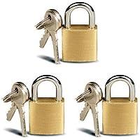 3 Small Metal Padlocks Mini Brass Tiny Box Locks Keyed Jewelry 2 Keys 20mm New ! by ATB