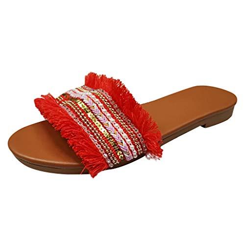 Summer Women's Leisure Rome Flats Slippers Sandals,2019 Hot Ladies Knit Slip On Slides Lightweight Soft Bottom Beach Shoes (Red, US:8.5)