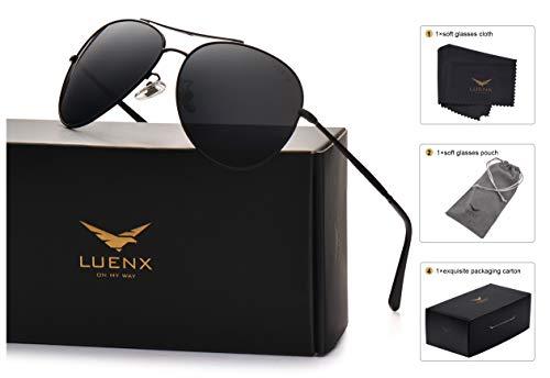 LUENX Aviator Sunglasses Men Women Non-Mirror Polarized UV40