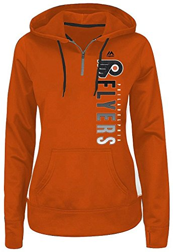 Hood Athletic Majestic (Majestic Athletic Philadelphia Flyers NHL Womens Rising 1/4 Zip Pullover Hoodie Orange Plus Sizes (2X))