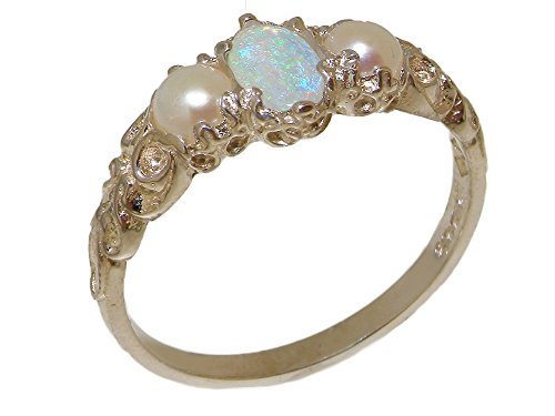 925 Sterling Silver Real Genuine Opal & Cultured Pearl Womens Band Ring - Size 7 -