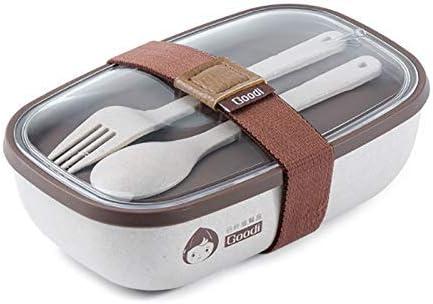 LZZB Caja Bento Fiambrera de Cereales Naturales para niños Caja Bento con vajilla Contenedor de Comida Fiambrera de Picnic Escolar para niños