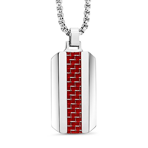 - Dog TAG - RED Carbon Fiber Tungsten Carbide Dog TAG Pendant ON Box Chain Necklace