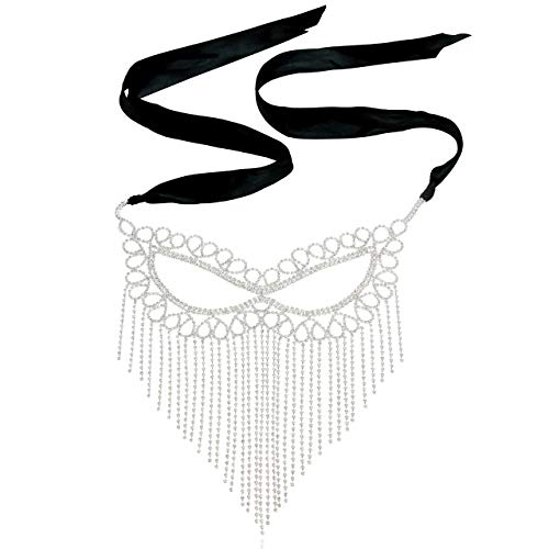 - Luxury Crystal Rhinestone Cat Eye Fringe Masquerade Ball Venetian Mask for Fancy Mardi Gras Carnival Party in Silver