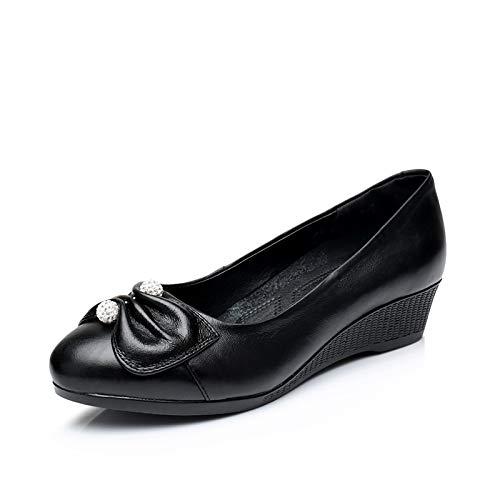 Trabajo Zapatos Acentuados cómodo de Zapatos de Cuero de FLYRCX de cuña Zapatos Zapatos Las de de Primavera Moda señoras Espesor Grueso A de otoño y FxqFwROUA