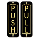 Classic Vertical Push Pull Door Signs (Two Signs) Brass, Metal Signs (Brushed Silver, Gold Brass, Brushed Copper, Or Black Finish) (Gloss Black, 2'' x 6'')
