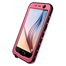 Galaxy S6 Waterproof Case, iThrough Waterproof, Dust Snow Shock Proof Case with Touched Transparent Screen Protector, Heavy Duty Protective Carrying Cover Case for Galaxy S6 (Pink)