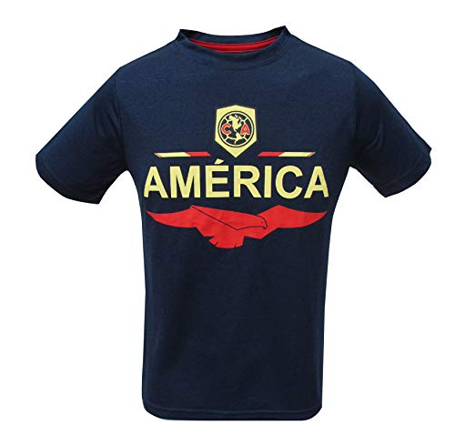 Junior Boys Club America Official Soccer Club Crew Neck Short Sleeve Jersey T Shirt Top (Navy, Medium) ()