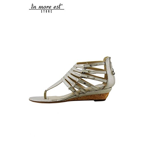 Metal Flops to Lamin Wedge Neck Sandal Lightweight Cork The Silver Flip Foot Buckles Tightening Flat with Guardiani Alberto Platinum 6qHwpfxY