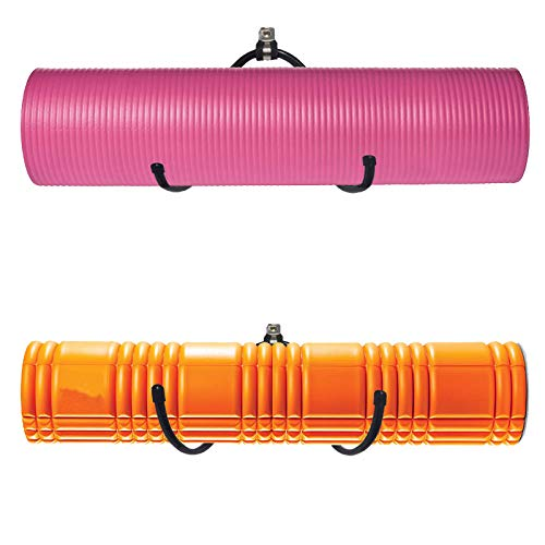 Yoga Mat Storage Foam Rollers Rack Rolled Bath Towels Holder Shelf – Solid Quality Wall Mountable for Bathroom Yoga room Yoga Massage Muscle Roller Exercise Mat, Adjustable Size,Up to 20Lbs – (2 Pack)