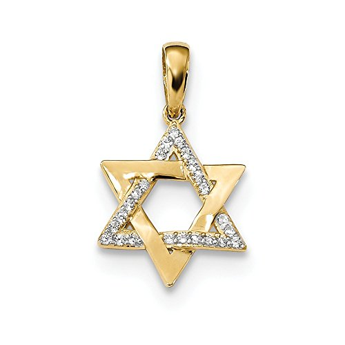 (Solid 14k Yellow Gold Polished CZ Cubic Zirconia Star of David Pendant (12.52mm x 20.8mm))