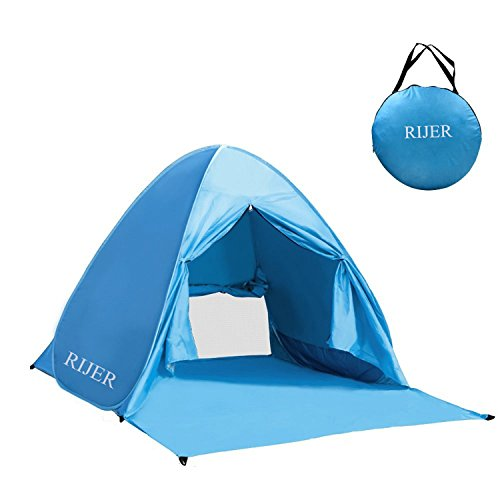 RIJER Automatic Pop Up Instant Portable Outdoors Beach Tent Sun Shelter Cabana with Carry Case u0026 Stakes  sc 1 st  Hiking Gear Store & RIJER Automatic Pop Up Instant Portable Outdoors Beach Tent Sun ...