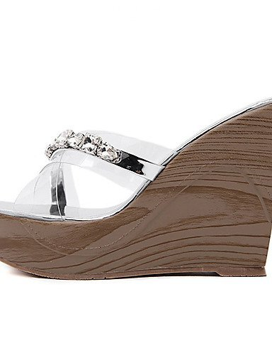 ShangYi Women's Shoes Silicone Wedge Heel Open Toe Sandals Dress Silver / Gold Silver HIH0LOuz7