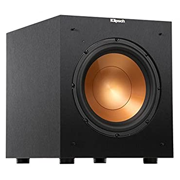 Klipsch Reference R-10SW Surround Subwoofer, 300 Watts Peak Power,(Brushed Black Vinyl, 10)