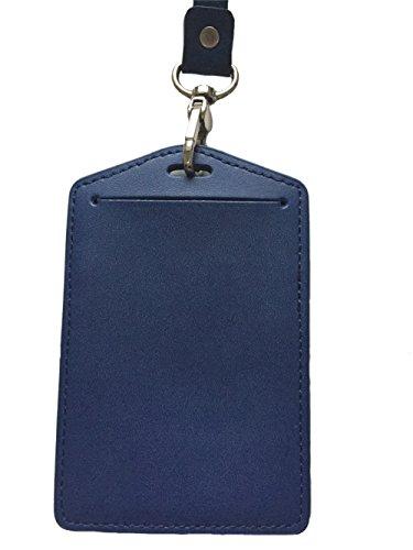 Neck Dark Unisex Holder Leather Wallet with Blue Badge Dark ID Blue Neck Aiklin Strap qZBUA