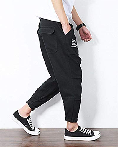 Moda Uomo Harem Haremshose Nner Sportivi Casual Larghi Nero Pantaloni Da q17FxUwZT