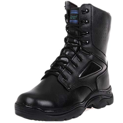 Stivali Stivale in Pelle da Uomo di Alta Top Martin Stivali da Trekking All'aperto Impermeabile Scarpa da Alpinismo Esercito di Pattuglia Pattuglia Regalo di Compleanno Black