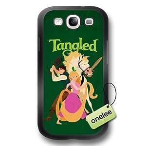 Cartoon Movie Disney Tangled Princess Rapunzel Soft Rubber(TPU) Phone Case & Cover for Samsung Galaxy S3(i9300) - Black