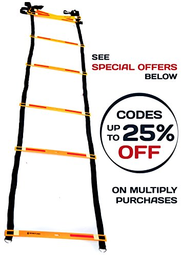 Adjustable Agility Ladder with Reflective Glowing Tapes for Fast Footwork, Short Run Speed in Lacrosse, Football, MMA, Crossfit Fitness Training Exercise or Floor Workout Drills 10 Rungs 13 Feet