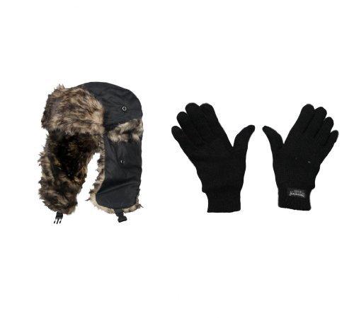 Geschenkset Herren Outdoor Ski Winter Warm Kunstfell Trapper Mütze und Thermo-Handschuhe, gestrickt, Warm, Geschenk-Set