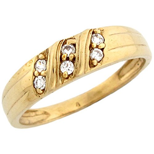 Pave Set Gold 10k - 10k Yellow Gold Mens Ring with Three Row Round Cut CZ Pave Set Accents