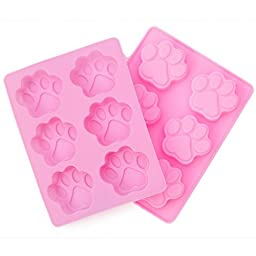 Kolme Kitchens - Paw Print Silicone Mold (2 Pack) For Baking and Freezing Molds - Pink