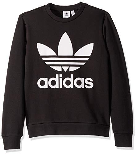(adidas Originals Little Kids Trefoil Crewneck Sweatshirt, Black/White, X-Large)