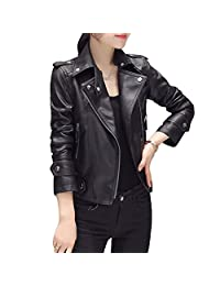 LINGMIN Women's Stand Collar Faux Leather Jacket Zip up Short Punk Moto Biker Coat